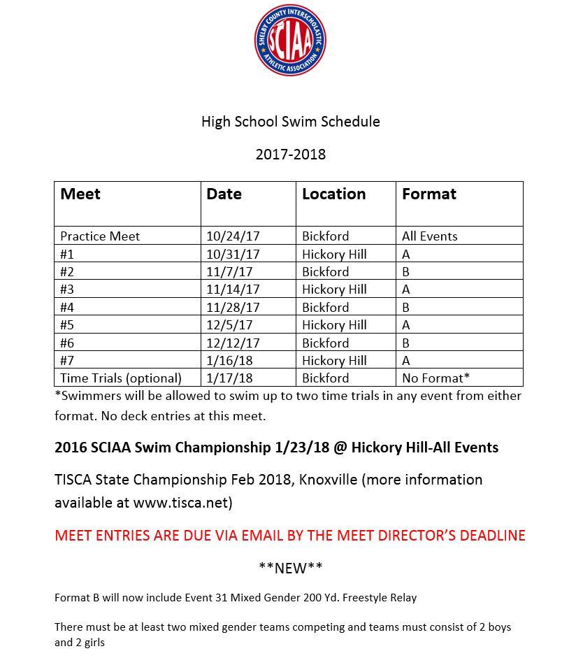 2017-18 Swim Schedule