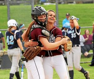Chichester seniors Maddie Thornton, left, and Meghan Wimmer embrace after Wimmer escaped a bases-loaded jam to close out a 1-0 shutout of Villa Maria in last year's District One Class AAA quarterfinal. This year, Wimmer and Thornton — now the team's starting third baseman — led the Eagles to the No. 1 seed in the tournament as they vie for the program's first District One title.