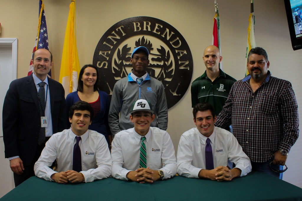 St. Brendan Baseball players and Swimmer sign Letter of Intent
