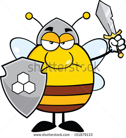 angry-pudgy-bee-warrior-with-shield-and-sword-raster-illustration–798079