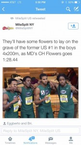 Boys Indoor Track Breaks School Record-US#1 4x200 Relay
