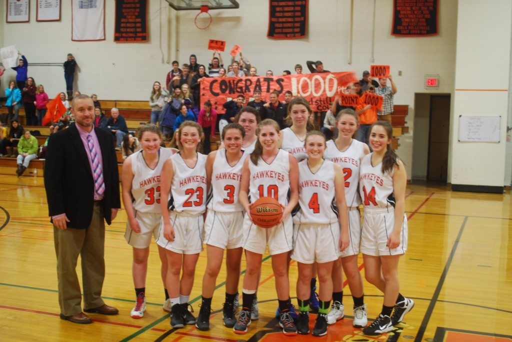 Junior Liz Millea scores her 1,000th point at home vs. Poland