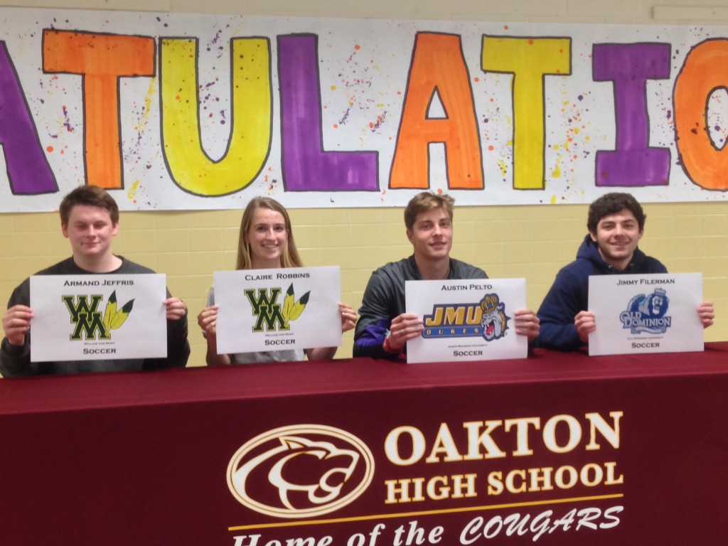 From left to right: Armand Jeffris - William and Mary; Claire Robbins - William and Mary; Austin Pelto - James Madison; Jimmy Filerman - Old Dominion University