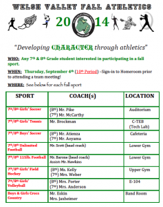 Fall Sports Meeting- Thursday, September 4th