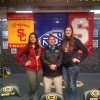 Baylee Johnson, Athletic Director Rob Dement and Shannon Coffee