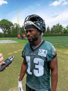 Radnor alumnus Tim Wilson participates in an Eagles rookie camp Friday at the NovaCare Complex. The former East Stroudsburg wide receiver hopes he can use his speed to make a mark on special teams.