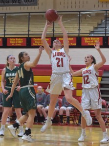 PETE BANNAN-DIGITAL FIRST MEDIA      Penncrest's (21) Katherine Mullaney puts a shot up in the fourth quater as the Lions over Bishop Shanahan 27-29  in playoffs at Kaufman Gymnasium Tuesday evening.