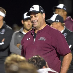 Garnet Valley football coach Mike Ricci let loose a smile of relief after a recent tight victory over Springfield. (Pete Bannan/Digital First Media)