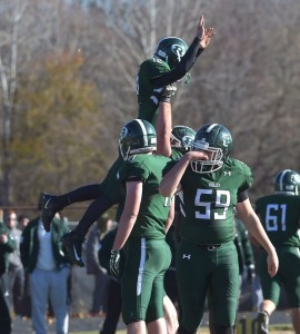 Ridley quarterback Jack Bakey gets a lift from his linemen to celebrate a first-half touchdown in Ridley's 27-26 win over Interboro Thursday. (Pete Bannan/Digital First Media)