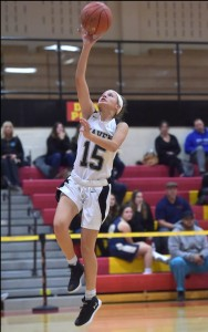 Strath Haven sophomore Danielle McNeely, pictured here completing a layup against Sun Valley in December, scored all 11 of her points in the fourth quarter of the Panthers' 53-45 win over Marple Newtown Wednesday.