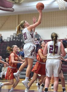 Garnet Valley's Madi McKee shoots in overtime of the Jaguars' 44-40 victory against Haverford Thursday. McKee had 13 points and 19 rebounds in the win.